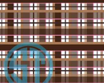 Brown, Tan, Pink Plaid printed Vinyl or HTV to use in vinyl cutter.. You choose size 6x6, 8.5x11, 12x12, 12x24 or 12x36