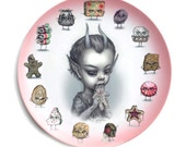 6-8 week PREORDER - Just One Bite - Krampus - Special 2016 Christmas Holiday Limited Edition 10 inch Melamine Dinner Plate - by Mab Graves