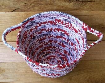 Clothesline  Coil basket, storage basket, fabric basket, egg basket,  coiled fabric basket, handle basket red, cream gray  housewarming gift