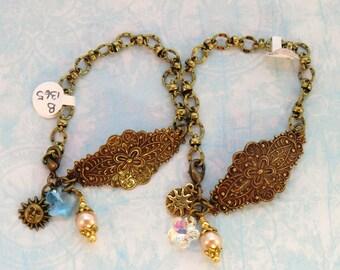 Boho antique brass, crystal and pearl charm cuff bracelets, you choose vintage style swarovski aqua or crystal flower bracelet sun moon cuff
