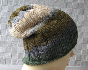 Man Knit Beanie, Slouchy Beanie, Green Hat,  Perfect Knitting Accessories Men Women  Wool Hat
