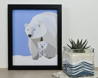 Geometric Black Framed Polar Bear and Cub Print