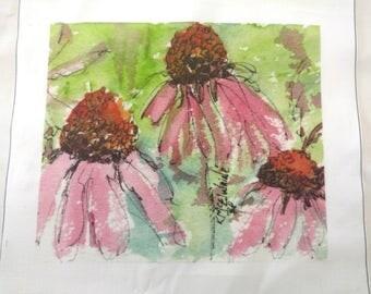 "Echinacea - Coneflower - Art On Fabric by Kathleen McElwaine - Texas Wildflowers - 9""x10"" Kona Cotton - 1 Block"
