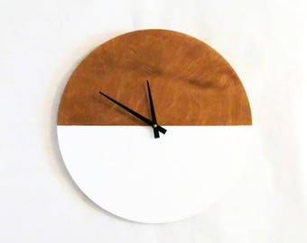 Modern Wall Clock, White and Wood Home Decor, Home and Living, Decor and Housewares