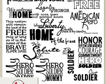 Digital and Printable Overlay Word Set Art - Instant Download - My Soldier - USA - Patriotic - Military
