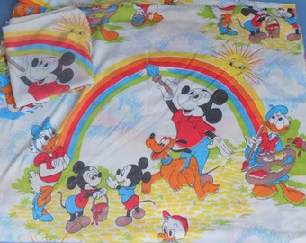 Vintage Mickey Mouse Painting Rainbows Sheet and Pillowcase