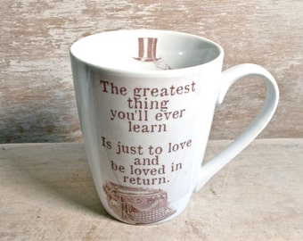 Typewriter Mug, The Greatest Thing Just to Love In Return, Moulin Rouge, Nature Boy Tea Cup Teacup Mug, Nat King Cole 14 oz Coffee Mug