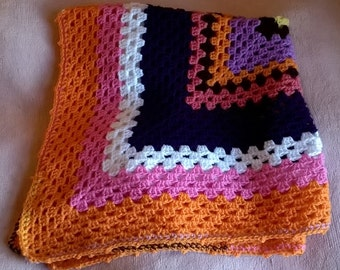 Crochet Blanket - Orange, Purple, Pink
