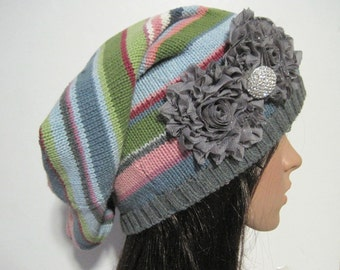 Multi Colored Striped Recycled Sweater Slouch Beanie Winter Hat With Grey Chiffon Flowers and a Rhinestone Accent Accessories Winter Hats