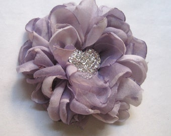 Lavender Hair Clip or Brooch Varigated Chiffon Bridal Bridesmaid Prom with Rhinestone Heart Accent Choose Clip or Brooch Valentines Day