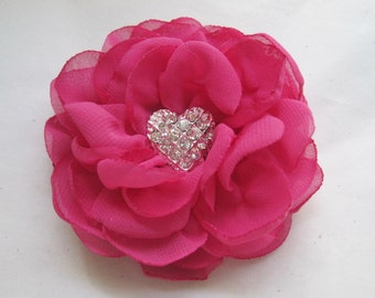 Bright Pink Chiffon Hair Clip or Brooch Bridal Accessories Bridesmaid Prom with Rhinestone Heart Accent Choose Clip or Brooch Valentines Day