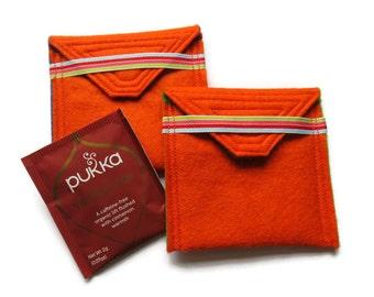 2 x Felt Tea Bag Holders - Travel Case for Tea Bags - Felt Tea Bag Pouch - Handbag Tea Bag Pouch