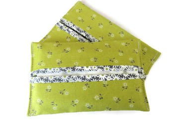 2 x Lime Green Fabric Paper Handkerchief Holder - Cotton Fabric Cover for Paper Tissues - Kleenex Cover Case - Fabric Case for Paper Hankies