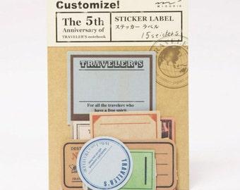 Vintage Travel Label Stickers for Midori Travelers Notebook Planner Stickers Die Cut Sticker