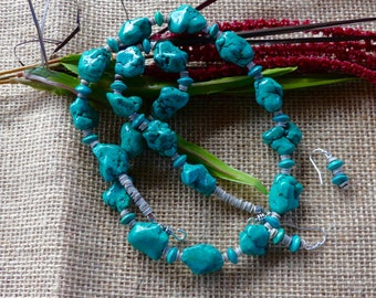 25 Inch Southwestern Teal Green Turquoise Nugget Necklace with Earrings
