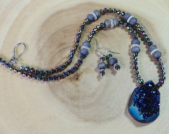 19 Inch Purple Titanium Druzy Agate Pendant Necklace with Earrings