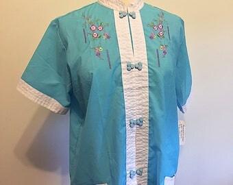 Vintage 1980s Asian Style Pajamas Unworn with Original Tags - Size 38