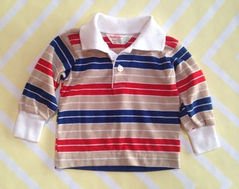 vintage striped collared shirt by healthtex size 6-9 months