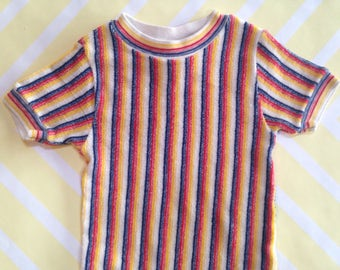 vintage stretchy striped terry cloth top by carters size 1-2 years