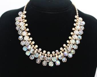 Vintage 1960's Crystal AB Rhinestone Goldtone Necklace Choker Wedding Cocktail Evening