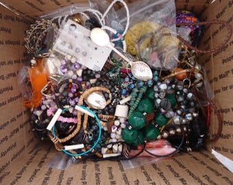 HUGE Lot of Mostly Broken Jewelry and Components for Repurpose, Jewelry Design, Altered Art Projects, Repair, 14 Lb 11 Oz