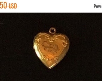 Puffy Heart Locket Pendant Victorian Charm Vintage Jewelry, CHRISTMAS SALE