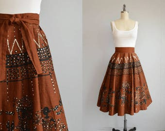 Vintage 50s Mexican Wrap Skirt / 1950s Novelty Metallic Sequin Skirt / Scenic Peasant People