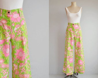 Vintage 70s Lilly Pulitzer Pants / 1970s Mod Floral Print High Waist Wide Leg Trousers / Liza Pulitzer Jeans