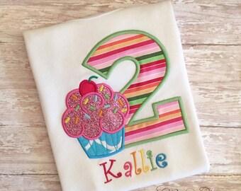 Birthday Shirt, Cupcake shirt, birthday cupcake shirt, birthday girl, first birthday shirt, cupcake birthday, pink cupcake tutu UD