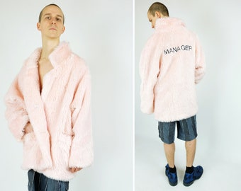 "90s Pastel Pink Faux Fur Coat /Jacket Back Embroidery ""MANAGER"""