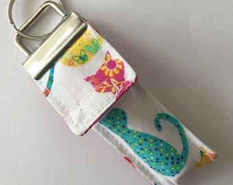 Keychain Chapstick Holder in Patchwork Kitties