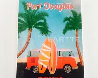 Vintage Travel Wall Tile Port Douglas Kombi