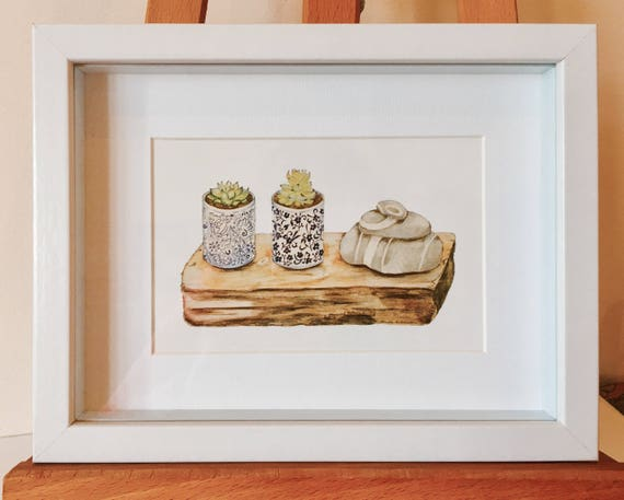 Framed Print of a Still Life with Blue Vases with Killiney Beach Stones, Irish Gift, Small Gift, Ireland Homesick, Ireland Memorablia