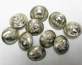 RESERVED FOR IOAN   10 French Silvered Coat Buttons, Pompier Button, Gendarmarie Button, Military Button,  Flaming Bomb Button (360D)