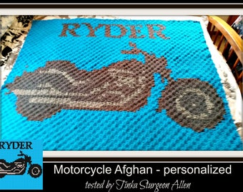 Motorcycle Afghan, Personalized,  C2C Graph & Written Word Chart