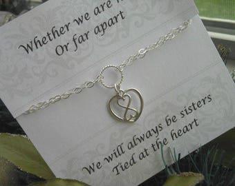 Sister Bracelet, Sterling Silver Infinity Bracelet,Gift for Sisters,Infinity Heart Bracelet,Adjustable Bracelet,Double Strand,Sister Jewelry