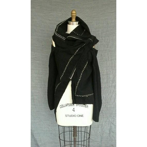 Vintage Comme des Garcons Deconstructed Cut Out Wool Zip Vest Funnel Collar 1990s Japan