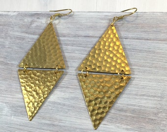 Large Hinged Gold tone triangle earrings