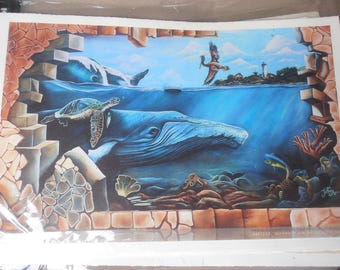 Colorful Tropical Mural in Rincon Puerto Rico -  light house, whales, waterfall, coral reef, office art