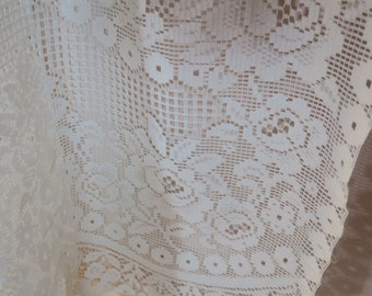 "DRAPES ... Semi Sheer Curtains/ Drapes 2 Panels white white Lace like 60"" w x 58"" l ea"