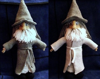Gandalf the Wizard Doll with Reversible Grey and White Cloak, handmade crochet