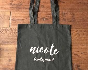 Bridesmaid Personalised Tote - Wedding Shower Tote - Bachelorette Gift bag