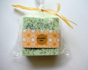 Cucumber Mint Soap: full size Bar natural soap