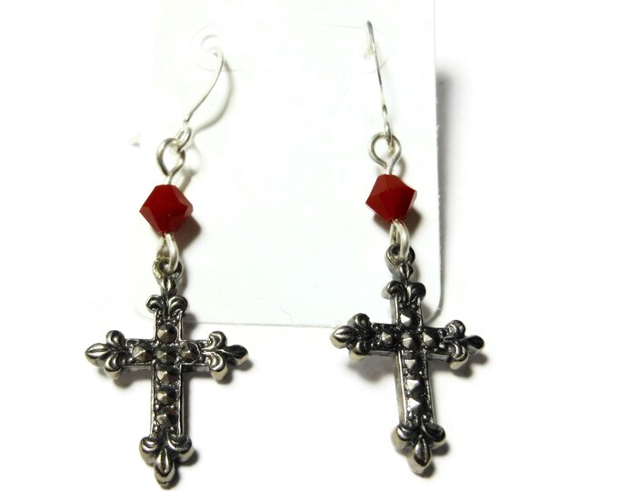 FREE SHIPPING Small cross earrings, silver tone Fleury , silver plated french wires, red Swarovski crystals, faux marcasite, dangle earrings