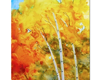 White birch tree art, autumn painting, fall wall decor, original watercolor impressionist painting on 11x14 Yupo paper by Janet Zeh