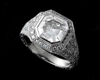 8mm Asscher Forever One Moissanite Ring, Diamond Halo Engagement Ring, Hand Engraved Milgrain Filigree Ring, Antique Style Platinum Ring