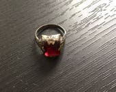 Vintage Ruby Glass and Sterling Filigree Ring