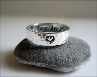 Heart Sterling Silver Band
