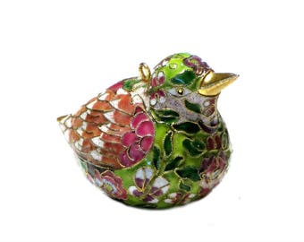 Enamel Cloisonne Brass Bird Multi Colored Sparrow Figurine Sit or Hang Gift for Mom Bird Lover Collectibles