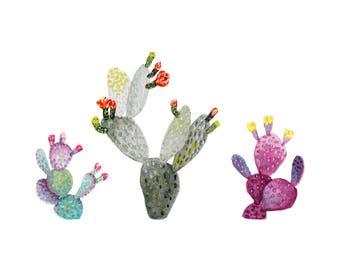 Prickly Pear Cacti 5x7 Art Print - Cactus Plants Giclée Print